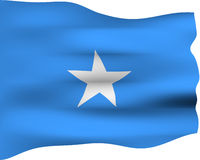 3D Flag of Somalia. Isolated in white Stock Photos
