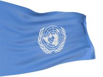 3D flag of the United Nations. With fabric surface texture. White background Royalty Free Stock Images