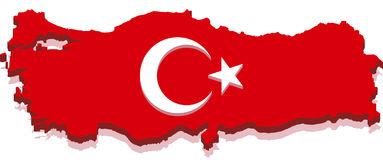 3d flaga mapy indyka turkish Zdjęcie Royalty Free