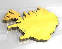 3d flagga guld- iceland Royaltyfri Bild