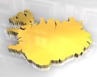 3d flagga guld- iceland Royaltyfria Foton