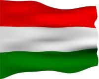 3d flagga hungary royaltyfri illustrationer