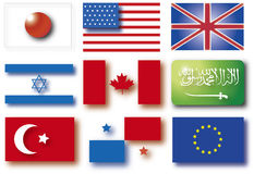 3D flags. Flags illustration Royalty Free Stock Photos