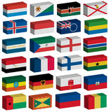 3D flags set. 3D Flags of the world with official colors and details Royalty Free Stock Photos