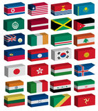 3D flags set. 3D Flags of the world with official colors and details Royalty Free Stock Photography