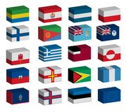3D flags set Stock Photography