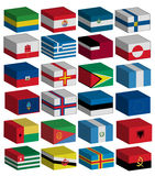 3D flags set. 3D Flags of the world with official colors and details royalty free illustration