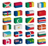 3D flags set. 3D Flags of the world with official colors and details Stock Photo
