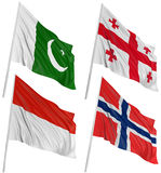 3D flags of world. With fabric surface texture. White background Stock Photos
