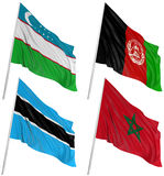 3D flags of world. With fabric surface texture. White background Stock Image