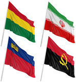 3D flags of world. With fabric surface texture. White background Stock Photo