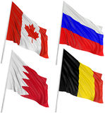 3D flags of world. With fabric surface texture. White background Royalty Free Stock Images