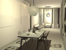 3D flat. 3D model of interior of a flat Royalty Free Stock Photos