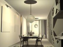 3D flat. 3D model of interior of a flat Stock Photo