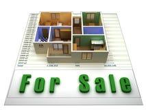 3D flat op een finacial dossier voor verkoop vector illustratie