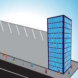 3d flats building. With parking and sky background, abstract vector art illustration Royalty Free Stock Photos