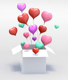 3D Float love color Heart open box Royalty Free Stock Photos