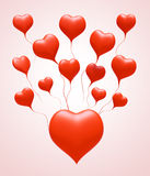 3D Float love Red Heart. Float love Red Heart on light pink background. 3d model illustration Royalty Free Stock Photos