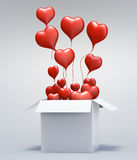 3D Float love Red Heart open box. Float love Red Heart open box on gray background. 3d model illustration Royalty Free Stock Images