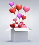 3D Float love Red Heart open box. Float love Color Heart open box on gray background. 3d model illustration Stock Photography