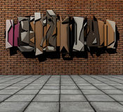 3d  floating graffiti on grunge brick Stock Photography