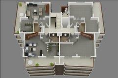 3d floor plan. Design house home Stock Photos