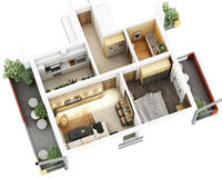 3d floor plan. 3d furnished floor plan of small appartement with balconies stock illustration
