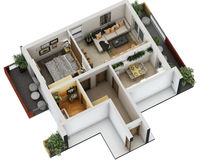 3d floor plan. 3d furnished floor plan of small appartement with balconies Royalty Free Stock Image
