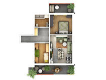 3d floor plan. 3d furnished floor plan of small appartement with balconies Royalty Free Stock Photography