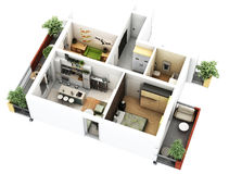 3d floor plan. 3d furnished floor plan of small appartement with balconies vector illustration