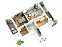 3d floor plan. 3d furnished floor plan of small appartement with balconies Stock Photo