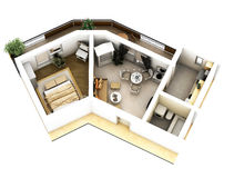3d floor plan. 3d furnished floor plan of small appartement with balconies and unusual shape Royalty Free Stock Photo