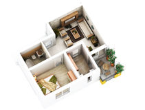 3d floor plan. 3d furnished floor plan of small appartement with balconies Royalty Free Stock Images