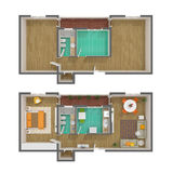 3d floor plan - top view Royalty Free Stock Photo
