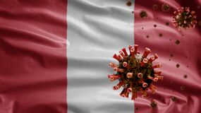 Free 3D, Flu Coronavirus Floating Over Peruvian Flag. Peru And Pandemic Covid 19 Royalty Free Stock Images - 216314959