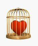 3d fluweelhart, dat in een gouden kooi wordt gesloten Stock Afbeelding