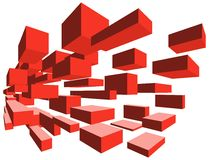 3D flying blocks red. 3D red flying blocks. The image can represent many concepts from the field of technology Stock Photos