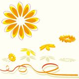 3D flying flowers in orange Stock Image