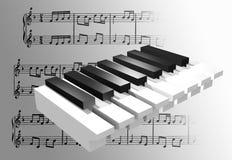 3d flyttat fram piano Royaltyfri Illustrationer