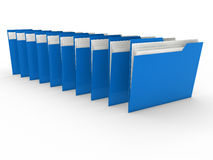 3d folder blue. 3d blue folder series with paper Royalty Free Stock Photography