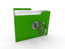 3d folder document green Royalty Free Stock Image