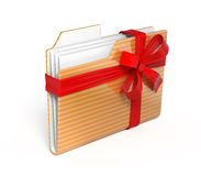 3d Folder icon with red bow Royalty Free Stock Photos