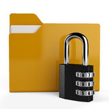 3D folder and lock. Data security concept. Yellow folder and black lock Royalty Free Stock Photos