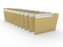 3d folder paper. Document file yellow data Stock Photo