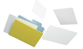 3D folder and paper file. On a white background. isolated Stock Image