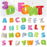 3D Font. Cute candy-colored 3d alphabet font vector illustration