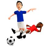 3D Football foul Royalty Free Stock Photos