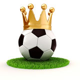 3d football and golden crown Royalty Free Stock Photography