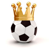 3d football and golden crown Stock Photography