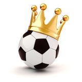 3d football and golden crown Stock Photos